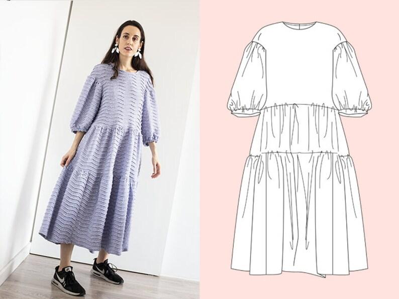 PDF Sewing pattern  Oversized Tiered maxi dress pattern image 0