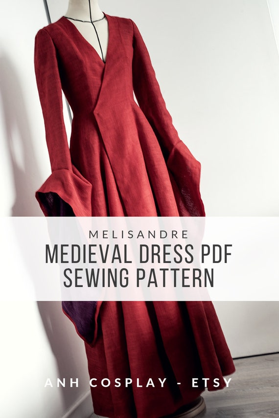 Medieval dress Melisandre inspired   Cosplay Sewing Pattern