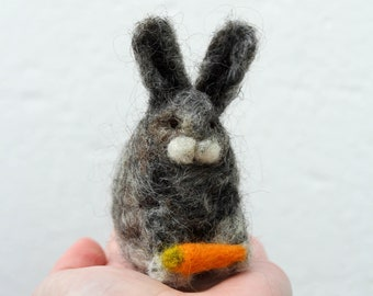 Medium Needle Felted Bunny Rabbit 100% Wool