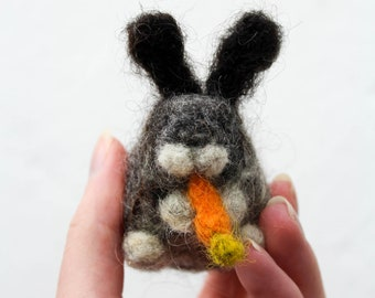 Small Needle Felted Bunny Rabbit 100% Wool