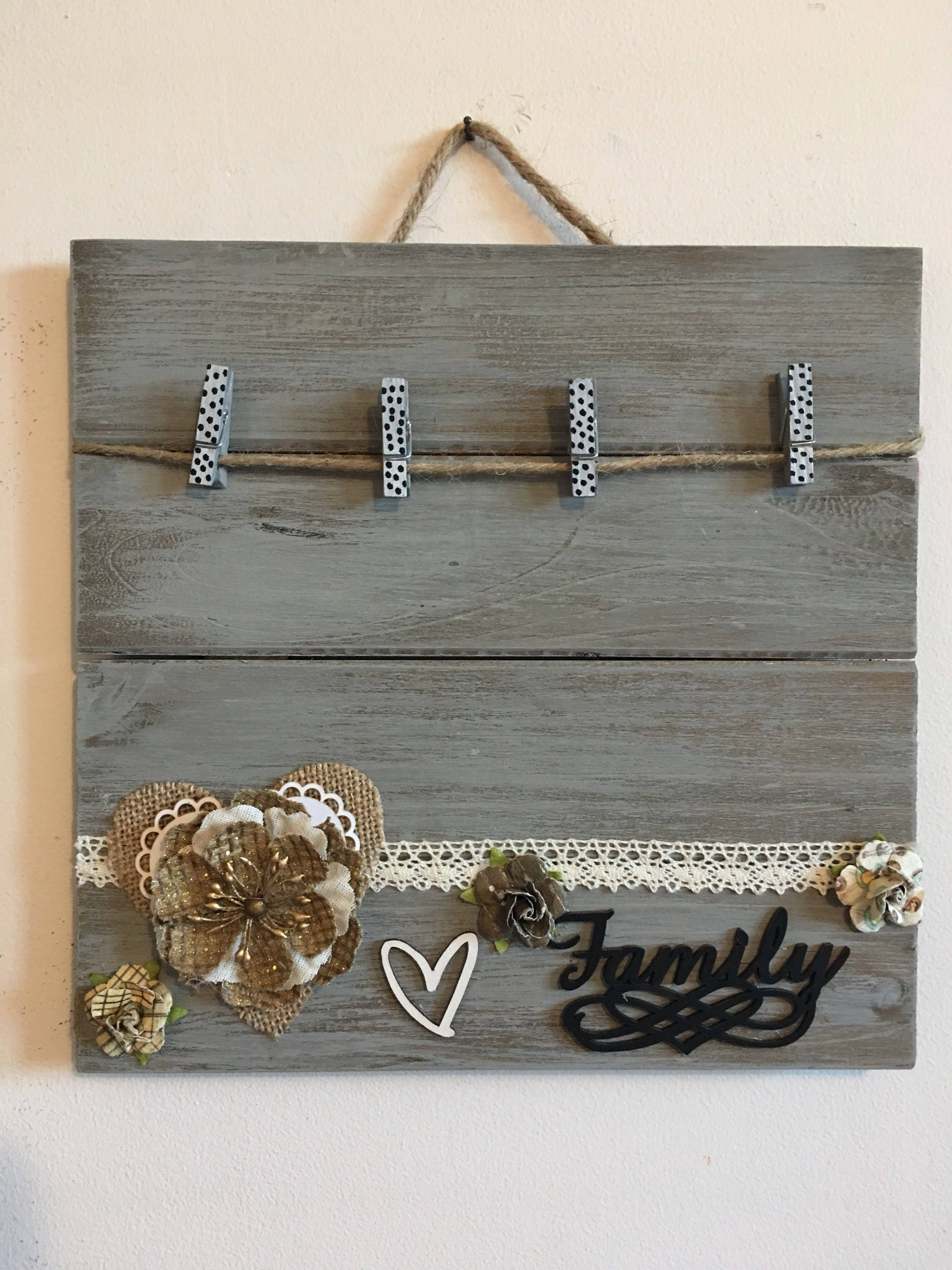 FAMILY PALLET FRAME rustic photo display family clothespin frame ...