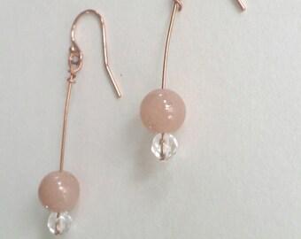 Orange moostone and Rose Gold Earrings