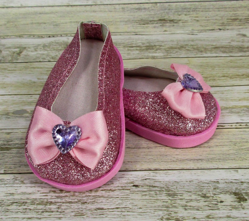 d7aba41a0f763 Doll Shoes for 18 dolls, Fits American Girl Doll, Doll Shoes, Free  Shipping, Pink Glitter Vinyl Doll Shoes, Shoes With Bow