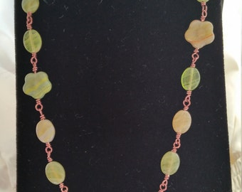 Green Agate and Antique Copper Wire Necklace