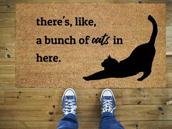 Reihe Von Katzen Fussmatte Lustige Fussmatte Kokos Fussmatte Etsy