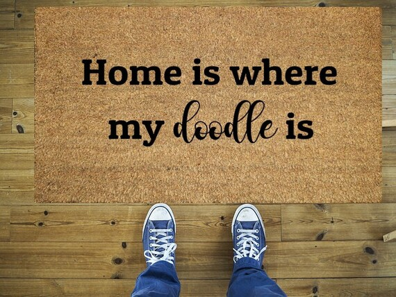 Home Is Where My Doodle Is Doormat Funny Doormat Coco Doormat Coir Doormat Welcome Doormat Hand Painted Doormat Door Mat Home Doodle