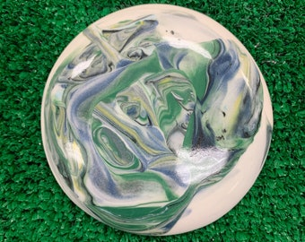 Large Handmade Swirly Ceramic Disc Golf Mini Marker - DolanClayStudio