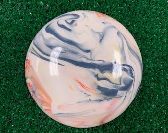 Small Handmade Swirly Ceramic Disc Golf Mini Marker - DolanClayStudio