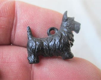 e3a5b3b82 Scotty Dog Charm 1940s Jewelry Vintage Small Black Color 3/4 in x 5/8 in