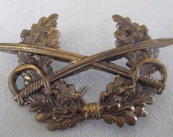 Vintage Antique Cavalry Cap Badge Crossed Swords Militaria