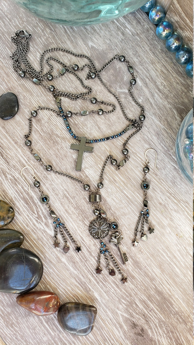 Multi Chain Black Necklace Black Cross Necklace Beaded Chain Jewelry Set Long Lariat Cross Necklace 50/% Off Black Chain Jewelry Set