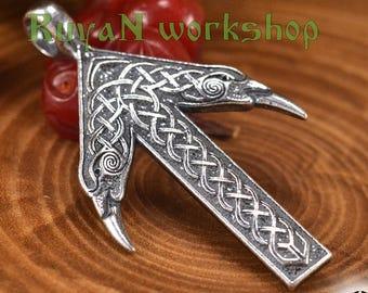 TYR Rune Viking pendant. Rune pendant.  Ravens Heads. Raven. Tiwaz pendant. Viking  . Viking Runes. Runic pendant.