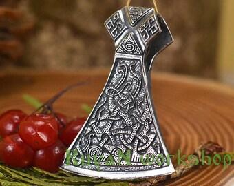 Viking Mammen Axe Pendant.  Mammen Style Bronze Pendant. Axe Sekira Legendary Viking necklace