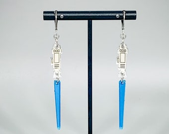 Lightsaber Earrings (Blue) - Laser-Cut Mirrored Acrylic