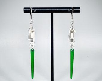 Lightsaber Earrings (Green) - Laser-Cut Mirrored Acrylic