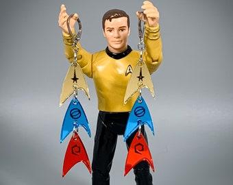 Star Trek TOS Starfleet Insignia Earrings - Laser-Cut Mirrored Acrylic