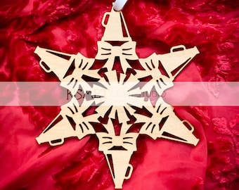 Cheerleading Laser Cut Wood Snowflake Ornament
