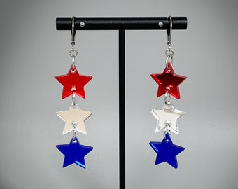 Red, White, and Blue Stars Earrings - Laser-Cut Mirrored Acrylic