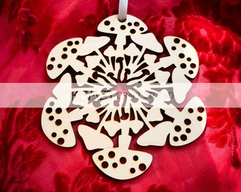 Mushrooms Laser Cut Wood Snowflake Ornament