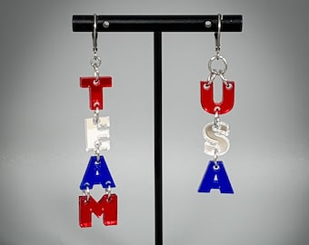 Team USA Olympics Red, White, and Blue Earrings - Laser-Cut Mirrored Acrylic