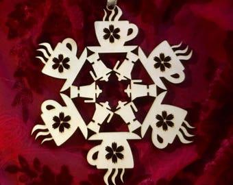 "Coffee Laser Cut Wood ""Snowflake"" Ornament"