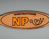 NP Nurse Practitioner Laser Engraved Leather Ear Saver Face Mask Strap (Hand-Painted in Your Choice of Color)