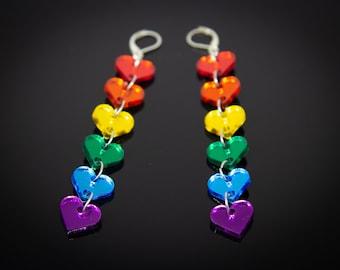 Pride! Rainbow Heart Earrings - Laser-Cut Mirrored Acrylic