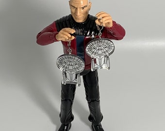 Star Trek The Next Generation USS Enterprise NCC-1701-D Earrings - Laser-Cut Mirrored Acrylic