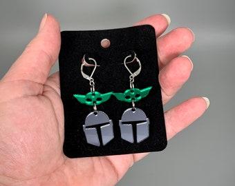 Mando & Grogu Earrings - Laser-Cut Mirrored Acrylic
