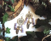 Silver earrings quot Dreamcatcher quot , semi-precious pearls in Amethyst, feather and birds