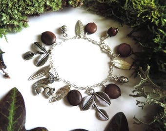 Forest Bracelet: Squirrel, wood beads, silver leaves