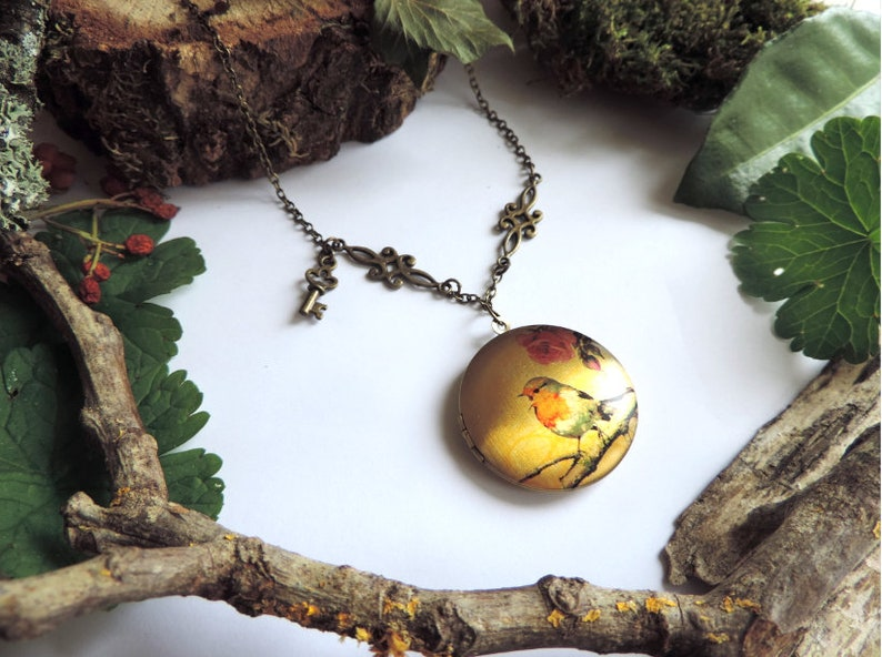 key. Pink-throated bird-slit case necklace bronze interlacing