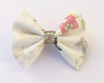 Farm hairbow, animal print, farm animal bow, hairbows, barn hairbow, gold, baby accessories, toddler bow