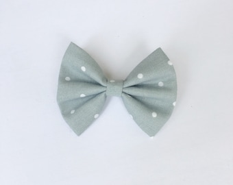 Gray polka dot hair bow, gray polka dot bow, hair accessory, mybowcloset, girls hair bows, hair bows