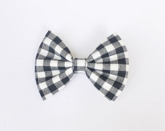 Gingham bow, black and white gingham, black bow, baby bow, hair accessories, spring bow