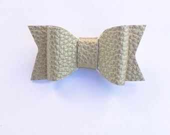 Gold hair bow, faux leather, mybowcloset, hair bows