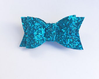 Glitter blue bow, sparkle glitter bow, sparkle bow, hair bow, hair bows, mybowcloset, hair accessories, bows
