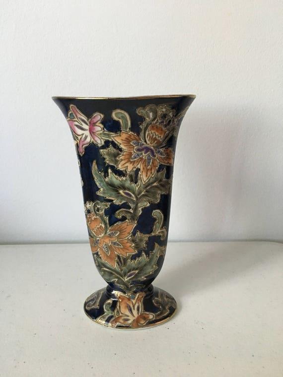 Vintage Asian Vase Vintage Oriental Vase Asian Floral Etsy