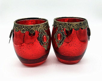Vintage Moroccan dark red Glass Tealight Holder with a Metallic floral Finish---Moroccan glass candle holder--Mediterranean candle holder