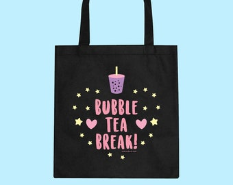 Bubble Tea Break! Canvas Tote Bag Shopping