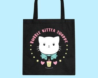 Bubble Kittea Shoppe Canvas Tote Bag Shopping