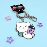 NEW! Bubble Tea Cute Tea Cat Hard Enamel Cute Keychain