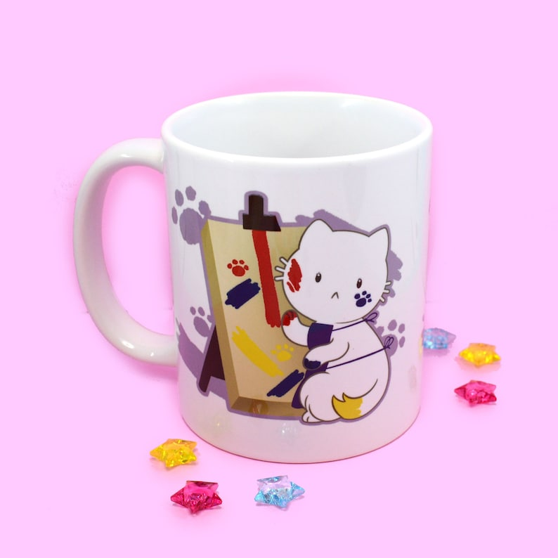 Artist Painter Cat Full Color Mug image 0