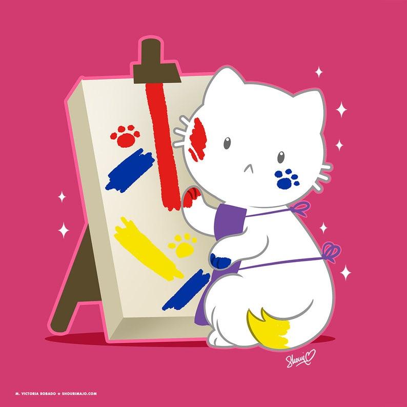Artist Painter Cute Cat Matte Art Print image 0