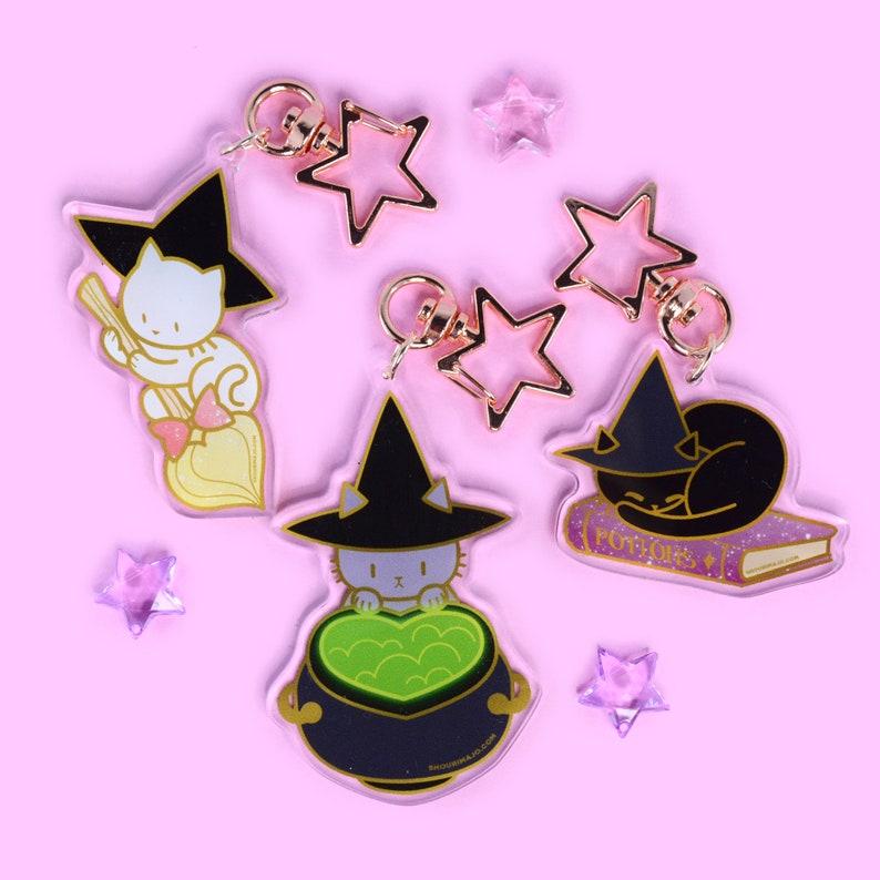 NEW Sassy Kitties Witchy Kitty Cat Cute Acrylic Keychain image 0