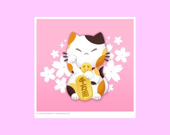 NEW! Maneki Neko Cute Cat Art Print Japanese Matsuri