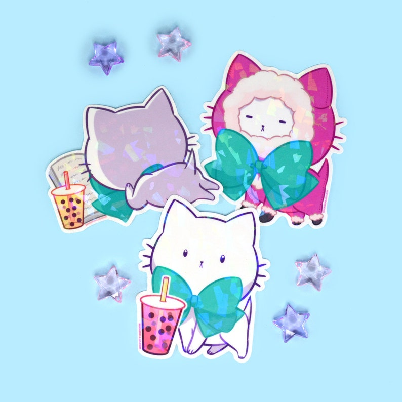 NEW Vinyl Sticker Bubble Kittea Cute Tea Cat image 0