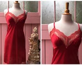 Vintage Red Nylon & Lace ...