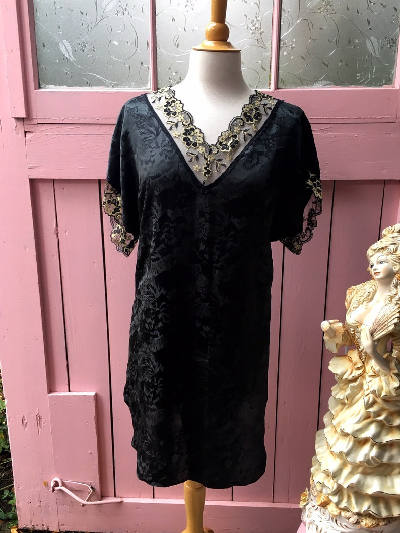 Vintage Floral Black and Gold Lace Trimmed Nightgown Sleep shirt X-Large One Size