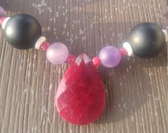 Ruby Tear Drop pendant, matte onyx, matte amethyst, bone, and rubies necklace